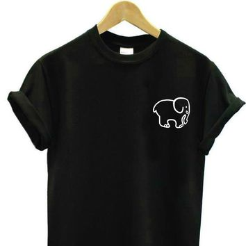small elephant pocket Print Women tshirt Cotton Casual Funny t shirt For Lady Top Tee Hipster Drop Ship Z-808