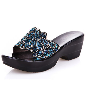 Womens Beautiful Jewel Platform Sandals