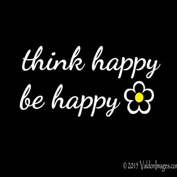 Think happy be happy car decal, car sticker, laptop decal, bohemian car decal, auto decal, flower decal, boho sticker, daisy sticker