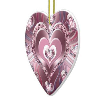 River Flowing Hearts Ceramic Ornament