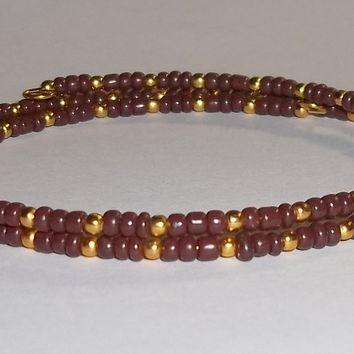 Chocolate Brown & Gold Glass Beaded Artisan Crafted Stackable Wrap Bracelet (S-M)