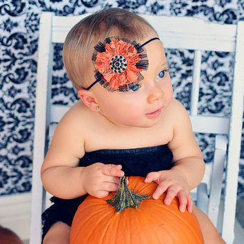 Halloween Orange Black Lace Tulle Rhinestone Embellishment Skinny Elastic Newborn Infant Toddler Baby Girl Headband