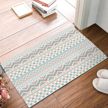 Autumn Fall welcome door mat doormat Fabric & Non-Slip s - Boho Style Ethnic Tribe Pattern Traditional Pattern Decorative  Indoor/Outdoor  AT_76_7