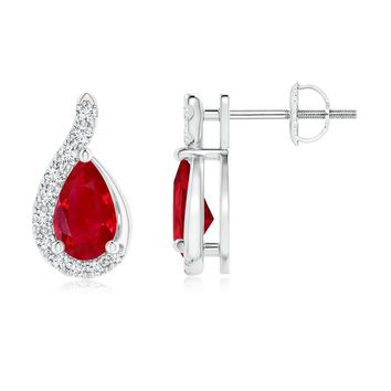 Pear Ruby and Graduated Diamond Wave Earrings