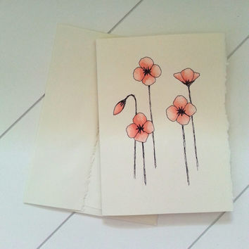 Red Poppy Notecard, Hand Painted Stationary, Custom Greeting Cards, Original Watercolor Art, Thank You Card, Blank Card
