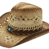 Womens Straw Cowboy Hat One Size Tea Stained with Faux Leather Hat Band and Blue Stone