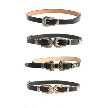 ac DCCKO2Q Women Lady Fashion Vintage Adjustable Punk Metalic Waistband Waist Belt Double Buckle Accessory