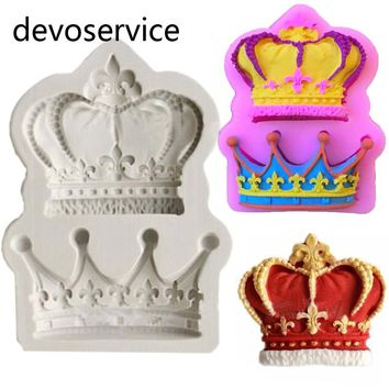 Crowns Princess Queen 3D Silicone Cookies Mold For Cake Decorating Tools Fondant Gumpaste Clay Candy Moulds Kitchen Baking Mould