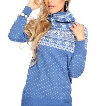 Navy Fair Isle Turtle Neck Sexy Sweater Dress
