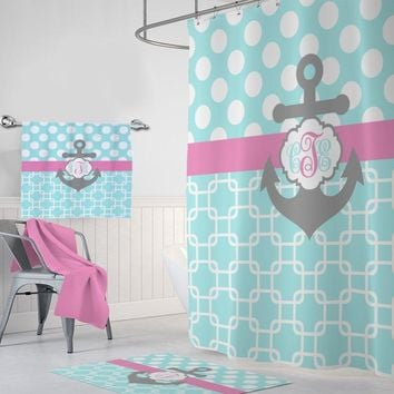 ANCHOR SHOWER CURTAIN, Aqua Pink Gray Nautical Bathroom Decor, Custom Monogram Shower Curtain Personalized Nautical Bath Towel Bath Mat