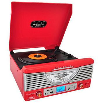 Vintage Classic-Style Turntable Vinyl Record Player with MP3 Computer Recording Ability, USB/SD Readers, Built-in Stereo Speakers, AM/FM Radio