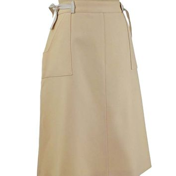 70s Courreges Cream Wool A Line Skirt