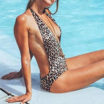 PLAVKY Sexy Halter Deep Plunging Leopard Trikini Brazilian Swim Bathing Suit Monokini High Cut Swimwear Women One Piece Swimsuit