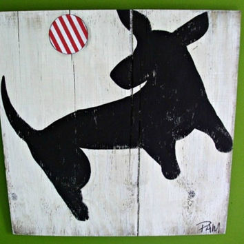 Rustic - Dog Art - Dachshund Playing Fetch - Custom