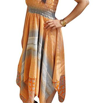 Emmaline Womens Summer Halter Dress Handkerchief Hem Recycled Sari Two Layer Resort Wear Sundress S/M (Orange, Grey): Amazon.ca: Clothing & Accessories
