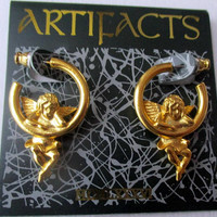Vintage JJ Earrings Angels Cherubs- Jonette jewelry, Artifacts 1986 collectible- Unique gift for her- made in USA- original antique jewelry