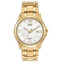 Citizen BM7262-57A Men's White Dial Gold Tone Stainless Steel Bracelet Watch