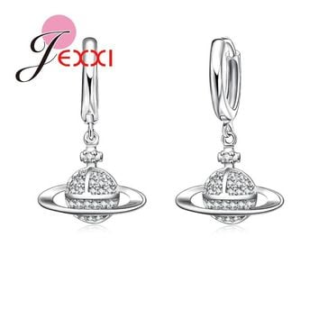 JEXXI Saturn Design Best Gift For Astronomy Enthusiasts 925 Sterling Silver Earrings For Women Girls Party Jewlery