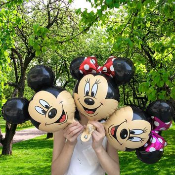 20pcs Mixed Red Mini Minnie Mickey Mouse Ears Head Foil Balloons Birthday Party Supply Decorations Theme Party Ballons Globos
