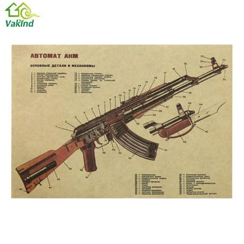 50 x 35cm Wall Sticker Vintage Retro AK47 Improved Structure Design Paper Poster Bar Wall Decoration Cheapest Price