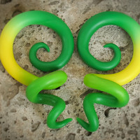 Green and Yellow Gauges Plugs, Ear Gauges or Gauge Earrings, Spiral Plug 00g, 0g, 2g, 4g for Stretched Ears