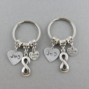 Matching Infinity Keychain Set-Couples Keychain-Boyfriend Girlfriend, Husband Wife I Love You Infinity Key Ring Set-2 Infinity Key Chainsn