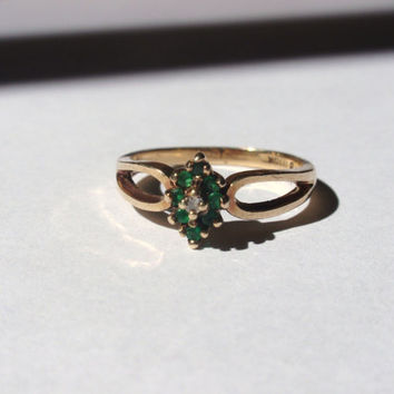 Vintage Emerald and Diamond Ring 10k marquis cluster dainty yellow gold May April birthstone green 10% OFF coupon in item detail