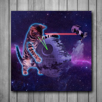 Star Wars Cat Funny Space Art Background Photo Panel - Durable Finish - High Definition - High Gloss
