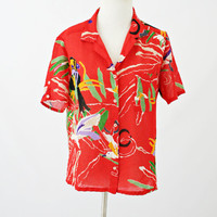 vintage 70s red TROPICAL birds JUNGLE novelty print shirt size S