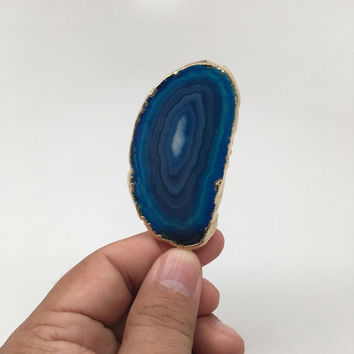 101 cts Blue Agate Druzy Slice Geode Pendant Gold Plated From Brazil, Bp1051