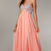 Long Empire Waist Strapless Sweetheart Dress