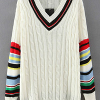 V Neck Striped Knit Long Sleeve Sweater