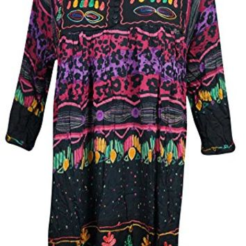 Mogul Interior Womens Swimsuit Cover Up Dress Black Casual Loose Shift Spring Fashion Beach Tunic Sundress M/L