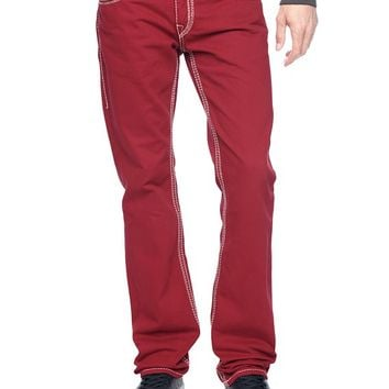True Religion Hand Picked Straight Natural Big Qt Mens Jeans - Rebel Red