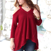 Cold Shoulder Waffle Knit Hi-Lo Sweater {Burgundy}
