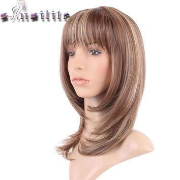 S-noilite 100% Real Natural Hair Straight Light brown blonde mix Synthetic Wig With Bangs For human Party Hair Wigs
