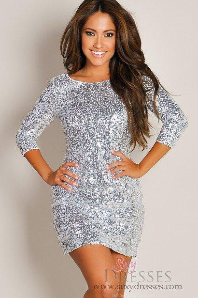 shimmering silver glam halfsleeve sequin from sexy dresses