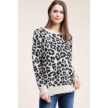 Lukas Leopard Distressed Sweater