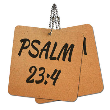 """Bible Verse Psalm 23-4 Wood MDF 4"""" x 4"""" Mini Signs Gift Tags"""
