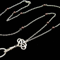 Fashion ID Badge Holder Lanyard with Celtic Heart Pendant and Pearls (breakaway clasp available)