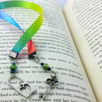 Rainbow Ribbon, Ribbon Bookmark, Heart lock and key, Skeleton key, Rainbow Bookmark, Key Charm, lock Charm, Heart Lock Charm, Book Thong