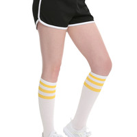 Black & White Girls Varsity Shorts