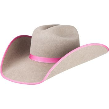 Rodeo King 7X Ash with Pink Bound Edge Cowboy Hat