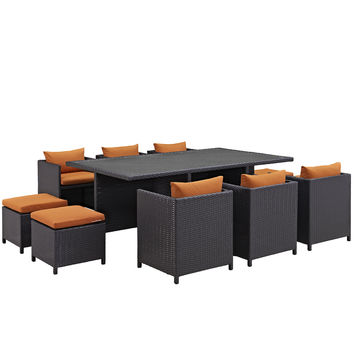 Reversal Eei644exporaset 11 PC Outdoor Patio Dining Set With 4 Stools 6 Chairs Rectangular Glass Top Table and Powder-coated Aluminum Frame in Espresso