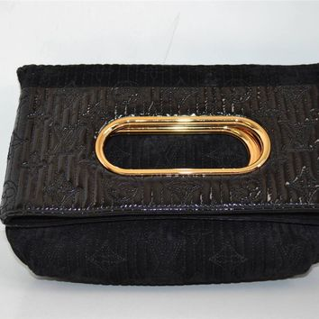 *Louis Vuitton Ltd Ed Black Suede Monogram Afterdark Motard Clutch/Bag/Purse