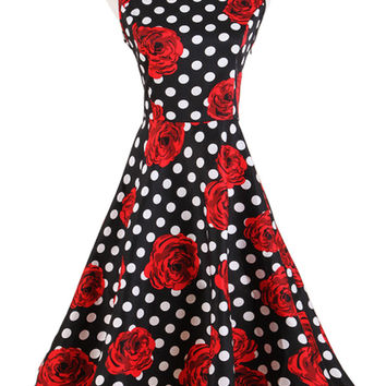 Red Rose + Polka Dot Print Sleeveless Midi Dress