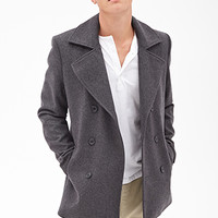 Heathered Wool-Blend Peacoat Heather Grey