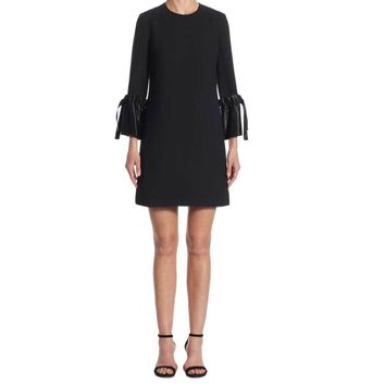 Victoria Victoria Beckham Black Tie Cuff Shift Dress