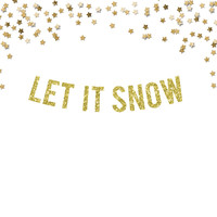 Let It Snow Glitter Party Banner