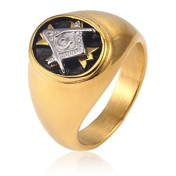 Masonic Freemasons Golden Stainless Steel Signet Cross Rings